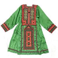 パキスタンヴィンテージバロチ刺繍ドレス(GREEN)[7002]