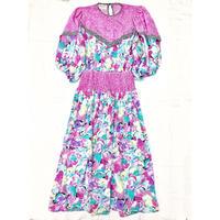 1980〜90'S VINTAGE 「Susan Freis」花柄ドレス (PINK×BLUE) [7082]