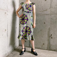 アフリカンバティック ノースリーブデザイン ドレス[7980]