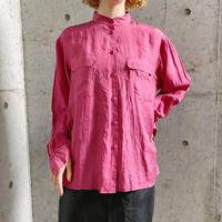 スタンドカラー ローズピンク シルクシャツ[8227]