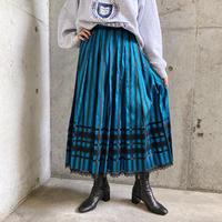 EURO vintage ブルー×ブラック ストライプ柄 シルクスカート[8244]