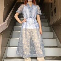 1950'S VINTAGE ボタニカル柄シースルーデザイン クラシカルドレス [9522]