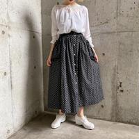 vintage フリルポケット×ガラスボタンデザインボリュームスカート[9543]