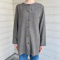 used グレーのグレンチェックノーカラーシャツ [7641]