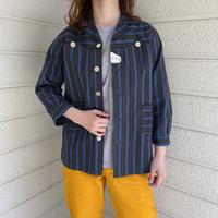 euro vintage  deadstock マルチストライプ デザインシャツ[8689]