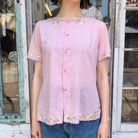 1970'S VINTAGE ラベンダー お花刺繍スカラップデザインシアーシャツ[9243]