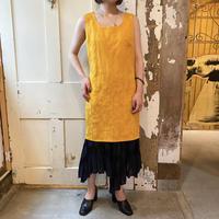 1990s euro vintage イエロー 織り柄 ノースリーブ ワンピース [8887]