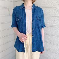 「Ralph Lauren」 ブルー デザイン  リネンシャツ[7753]