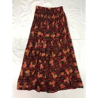 花柄インドレーヨンスカート (RED)  [7100]