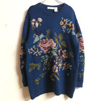 お花モチーフウールニット(BLUE)[7298]