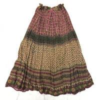 インド綿お花柄スカート(PINK ×YELLOW)[7059]