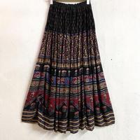 1970's Indian vintage レーヨンスカート (BLACK×RED) [7449]