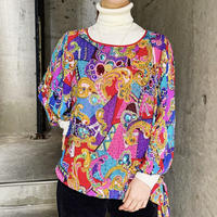 1980'S VINTAGE「Diane Freis」ビーズ×ビジュー刺繍 サイドリボン トップス[9910]