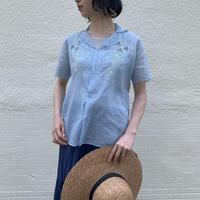 1970'S VINTAGE パステルお花刺繍スカラップデザインシアーシャツ[9242]