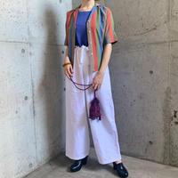 1960'S VINTAGE 「Lady manhattan」ストライプパターンオープンカラーシャツ[9554]