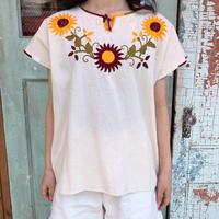 vintage ひまわり刺繍メキシカンチュニック (WHITE) [9030]