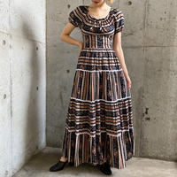 1970'S vintage パフスリーブ×花柄 マキシ丈ドレス [9669]