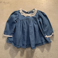 【KIDS】レースデザインデニムワンピース (BLUE) [7442]