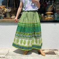 Vintage グリーンボタニカルプリントインド綿ボリュームスカート [2251]