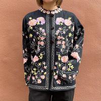 ピンク カシミール刺繍 スタンドカラージャケット[2258]