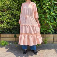 ティアードデザインクロシェコットンワンピース (pink overdyed) [9268]
