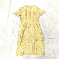 1950'S VINTAGE リーフ柄ワンピース(GOLD)[7044]