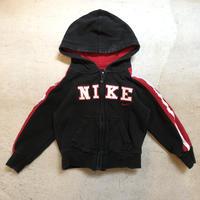 【KIDS】NIKEロゴフルジップパーカー (BLACK×RED) [7380]