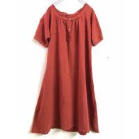 1920'S France antique  後染めリネンドレス(RED) [7096]