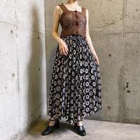 INDIA vintage ブラック 花柄 レーヨンスカート[7979]