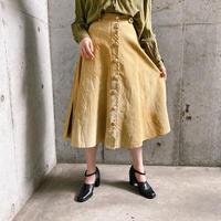 1990s ベージュフロントボタンデザイン レザースカート [9166]