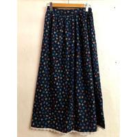 1970'S VINTAGE お花×木の実柄フレアスカート(BLUE)[9047]