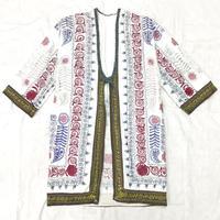 ウズベキスタンヴィンテージ スザニ刺繍ガウン(WHITE)[7030]