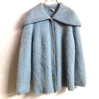 1950'S VINTAGE ビッグカラーモヘアニットカーディガン (BLUE) [7342]