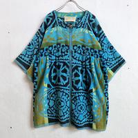 1970'S VINTAGE 花柄パイルビーチガウン  (BLUE) [7426]