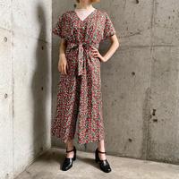 「MONKI」花柄×ウッドボタン ジャンプスーツ[9535]