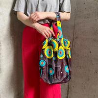 African batik巾着バッグ(brown×blue)[2243]