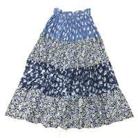 インド綿お花柄ティアードスカート(BLUE)[7051]