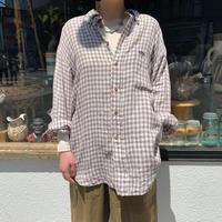 ブラウン チェック柄 リネンシャツ[8716]