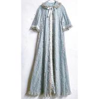 1960'S VINTAGE「I.MAGNIN」サテンリボンテープ総レースナイトガウン(BLUE)[7210]
