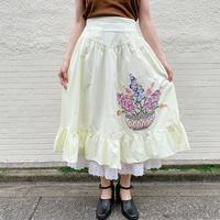 花ブーケ刺繍フリルデザインスカート[9275]