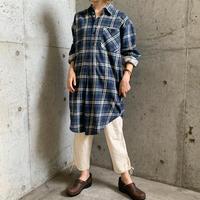 EURO vintage グリーン×ネイビーチェックパターン グランパシャツ[8131]