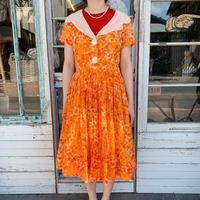 1960's Vintage Orange Flower Big Collar Dress[1006]