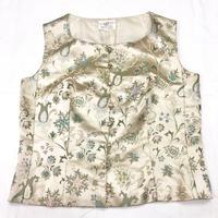 1950~60'S VINTAGE 植物柄ゴブラン織りベスト(GOLD)[7034]