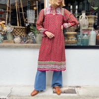 1970's vintage 赤×緑 インド綿ワンピース[2253]