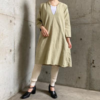 1920'S  French Antique Vネック リネンドレス (PALE GREEN overdyed)  [7842]