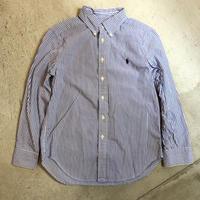 【KIDS】Ralph Lauren ストライプ柄シャツ (BLUE×WHITE) [7452]