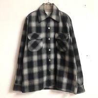 vintage  オンブレチェック柄 ウールシャツ (BLACK) [7269]