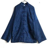 織り柄シルクチャイナシャツ(BLUE)[7202]
