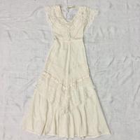 1970'S VINTAGE リボンテープデザイン ガーゼコットンドレス(IVORY)[7090]
