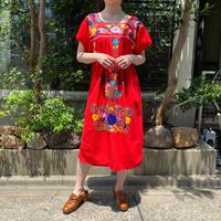 vintage 赤 メキシカン ポプラーノ刺繍ワンピース [2146]